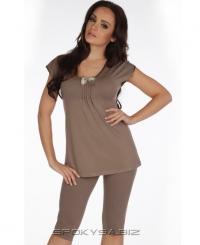 Жіноча піжама De Lafense VISA 869 коричневий